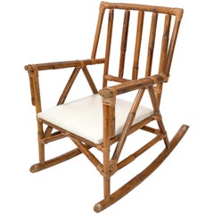 Mid-Century Modern Boho Style Bamboo and Vinyl Children Rocking Chair