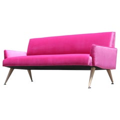 Mid-Century Modern Bold Pink Velvet Sofa with Bleached Walnut Tapered Legs