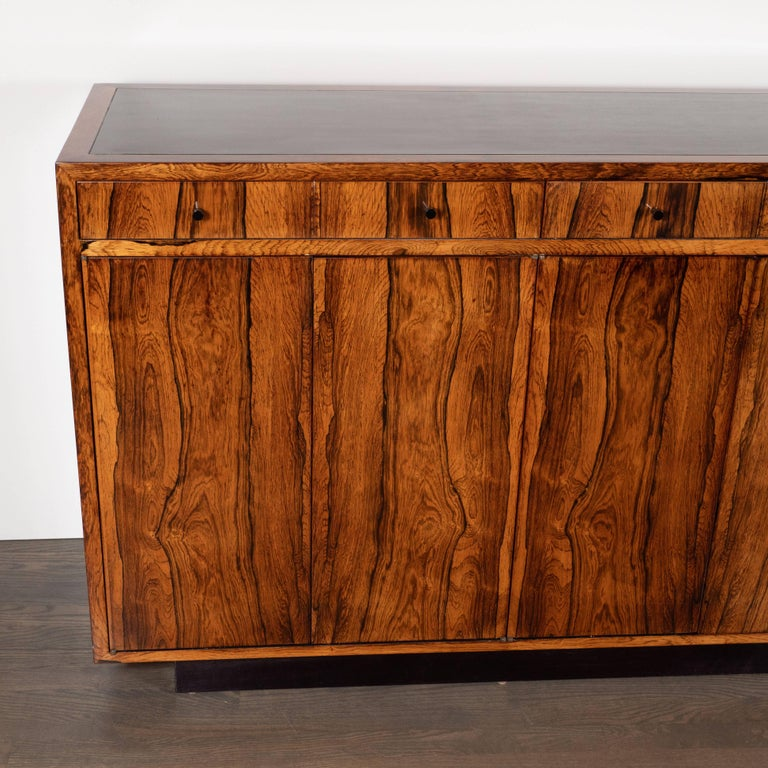 American Mid-Century Modern Bookmatched Bleached Rosewood with Black Laminate Top For Sale