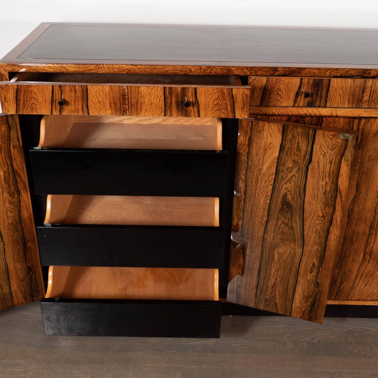 Mid-Century Modern Bookmatched Bleached Rosewood with Black Laminate Top In Excellent Condition For Sale In New York, NY