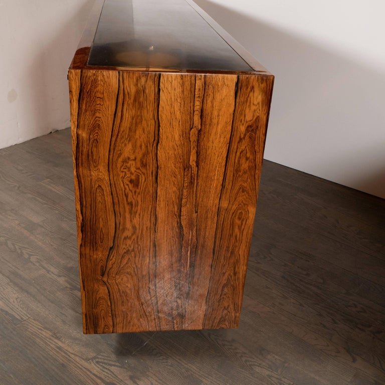 Mid-Century Modern Bookmatched Bleached Rosewood with Black Laminate Top For Sale 1