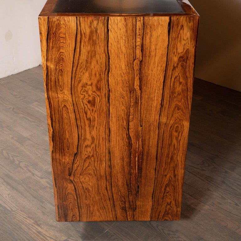 Mid-Century Modern Bookmatched Bleached Rosewood with Black Laminate Top For Sale 2