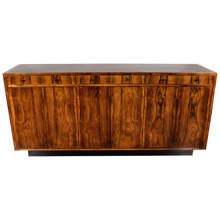 Mid-Century Modern Bookmatched Bleached Rosewood with Black Laminate Top For Sale