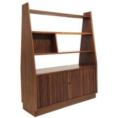 Mid-Century Modern Bookshelf Room Divider with Storage