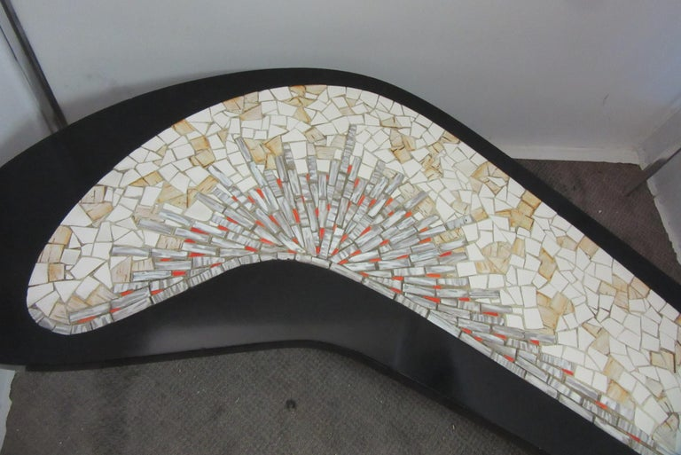 Mid-20th Century Mid-Century Modern Boomerang Coffee Table with Mosaic Tile Top For Sale