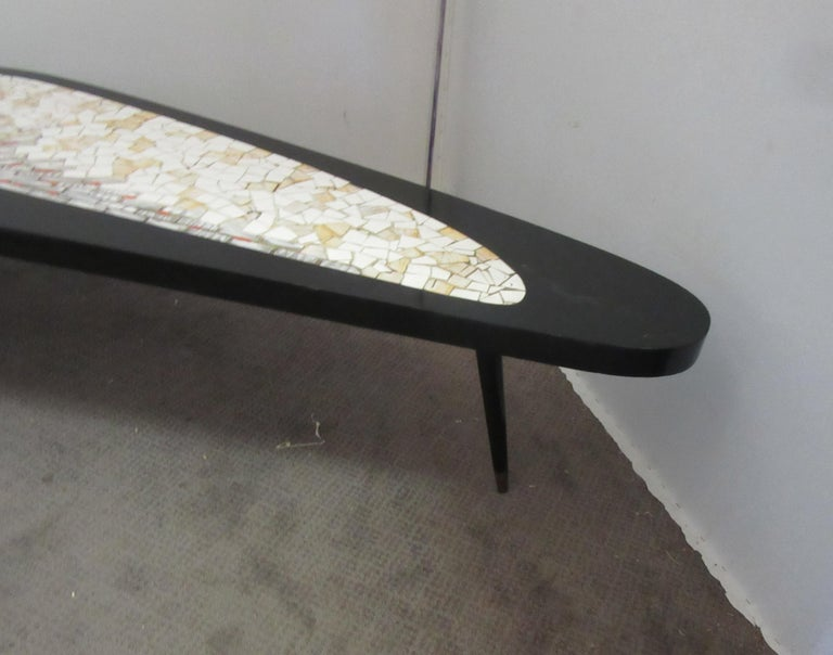 Ceramic Mid-Century Modern Boomerang Coffee Table with Mosaic Tile Top For Sale