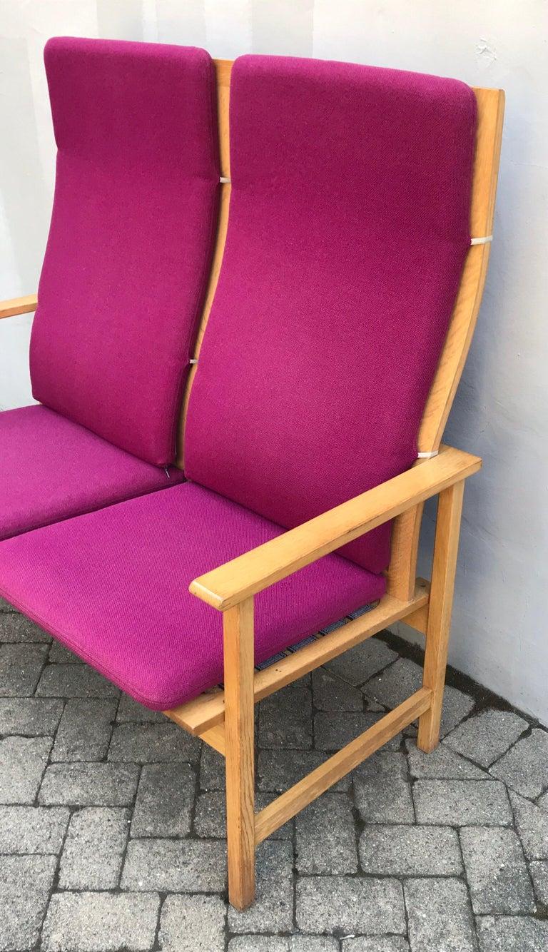 Danish Mid Century Modern Borge Mogensen Two-Seat Sofa Bench, Denmark, 1960s For Sale