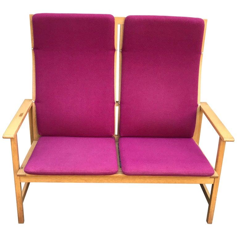Mid Century Modern Borge Mogensen Two-Seat Sofa Bench, Denmark, 1960s For Sale