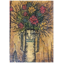 Mid-Century Modern Bouquet of Flowers in the Style of Bernard Buffet, Signed