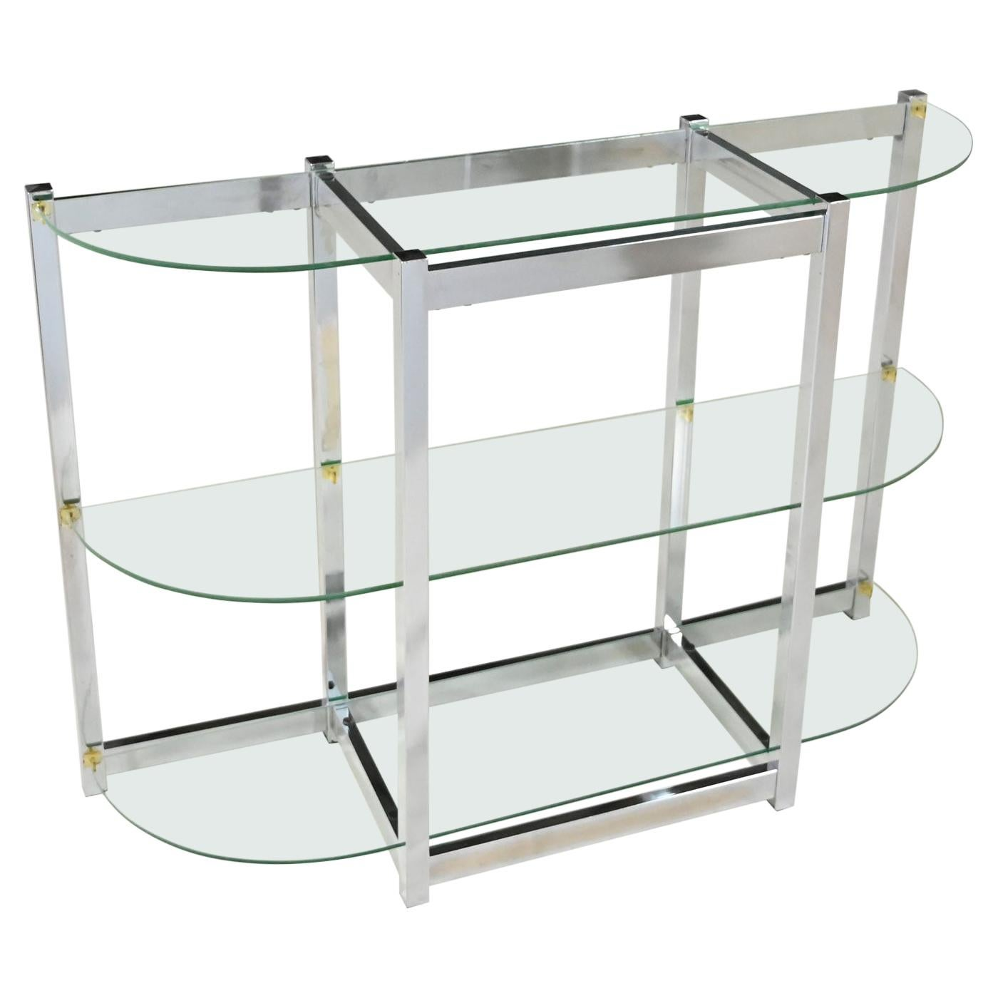 Mid-Century Modern Bow Shape Chrome Sofa Console Table 3 Glass Shelves Style DIA