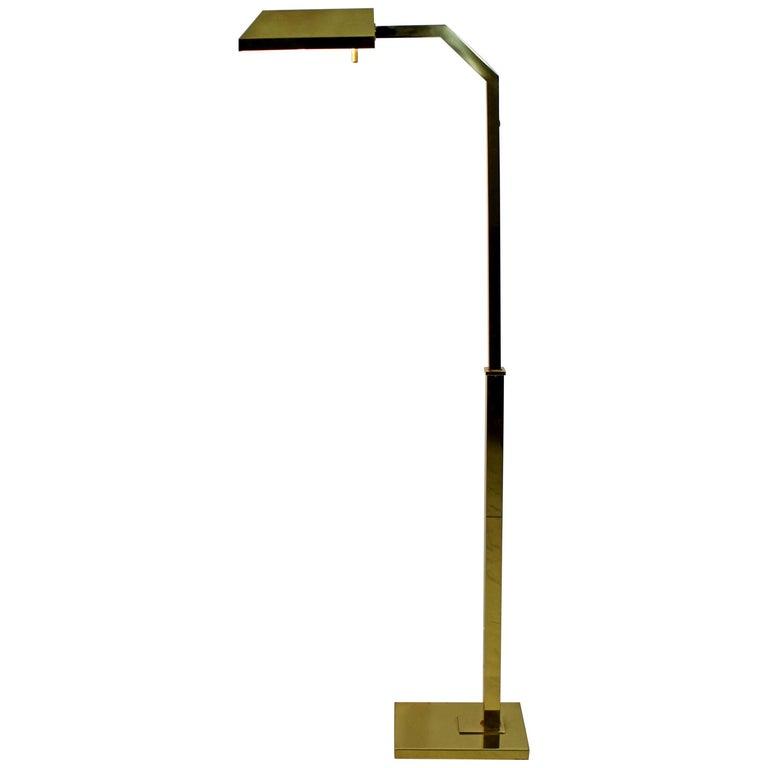 Mid Century Reading Lamp: Mid-Century Modern Brass Adjustable Brass Reading Floor