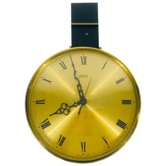 Mid-Century Modern Brass and Acrylic Hanging Wall Clock by Atlanta, Germany