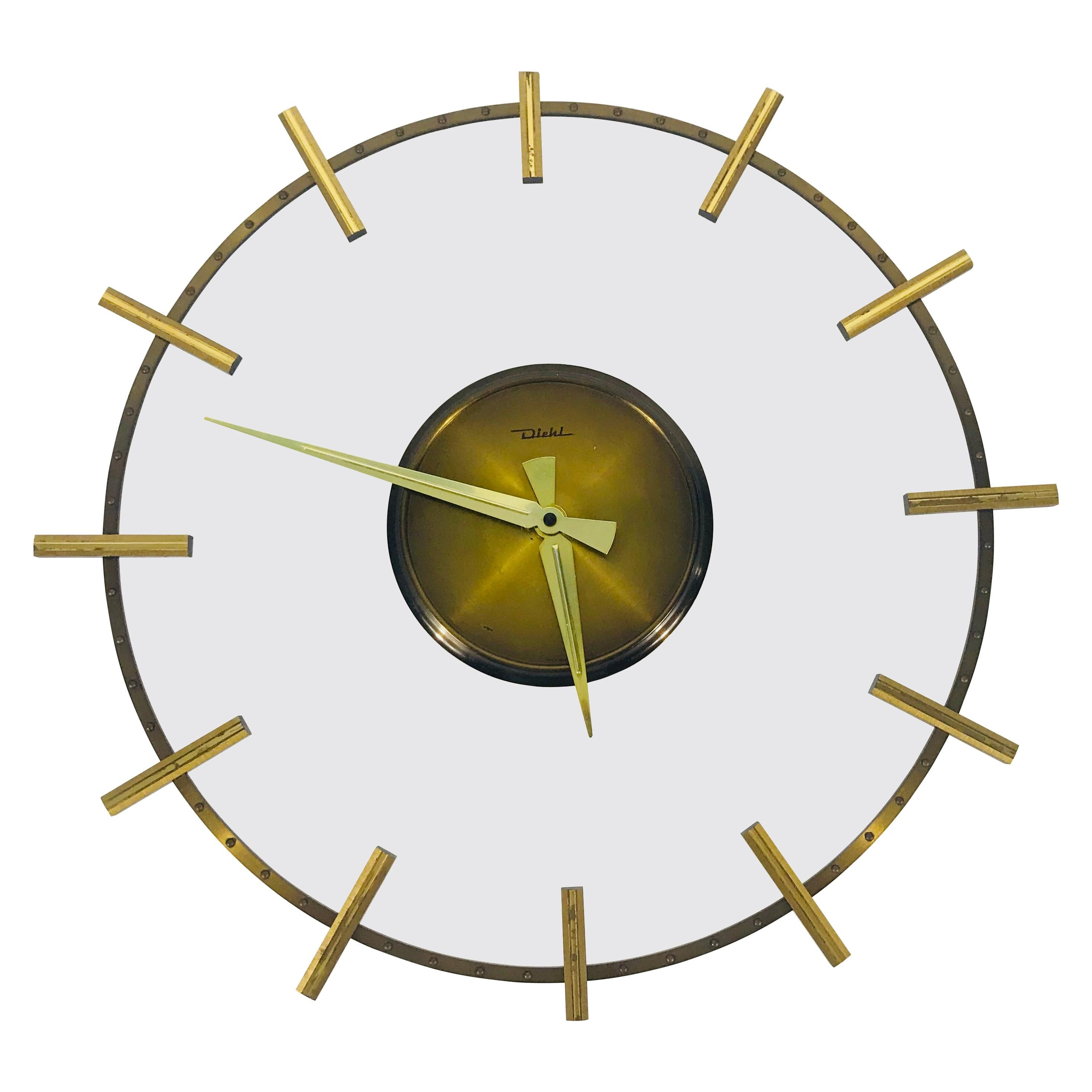 Mid-Century Modern Brass and Acrylic Wall Clock by Diehl, Germany, 1960s