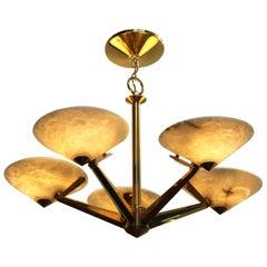 Mid-Century Modern Brass and Alabaster Chandelier by Lightolier