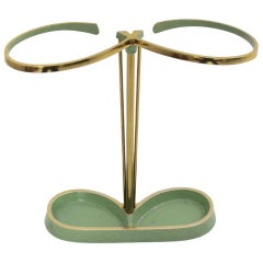 Mid-Century Modern Vintage Green Brass and Aluminium Umbrella Stand, 1950