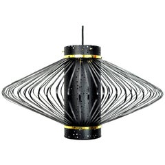 Mid-Century Modern Brass and Black Enameled Metal Pendant Lamp