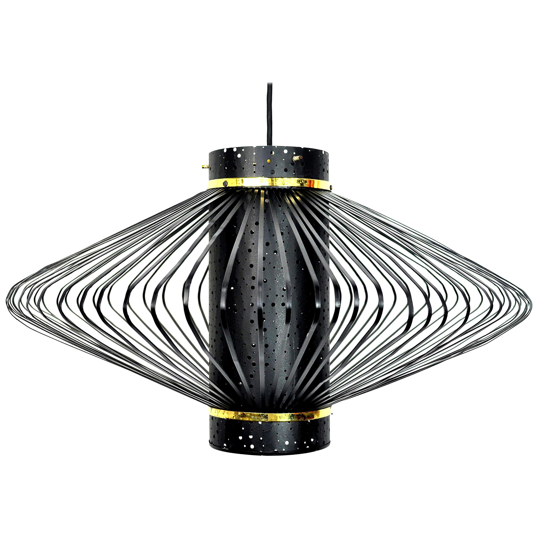 Mid-Century Modern Brass and Black Enameled Metal Pendant Lamp
