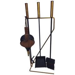 Mid-Century Modern Brass and Black Iron Modernist Firetool Set