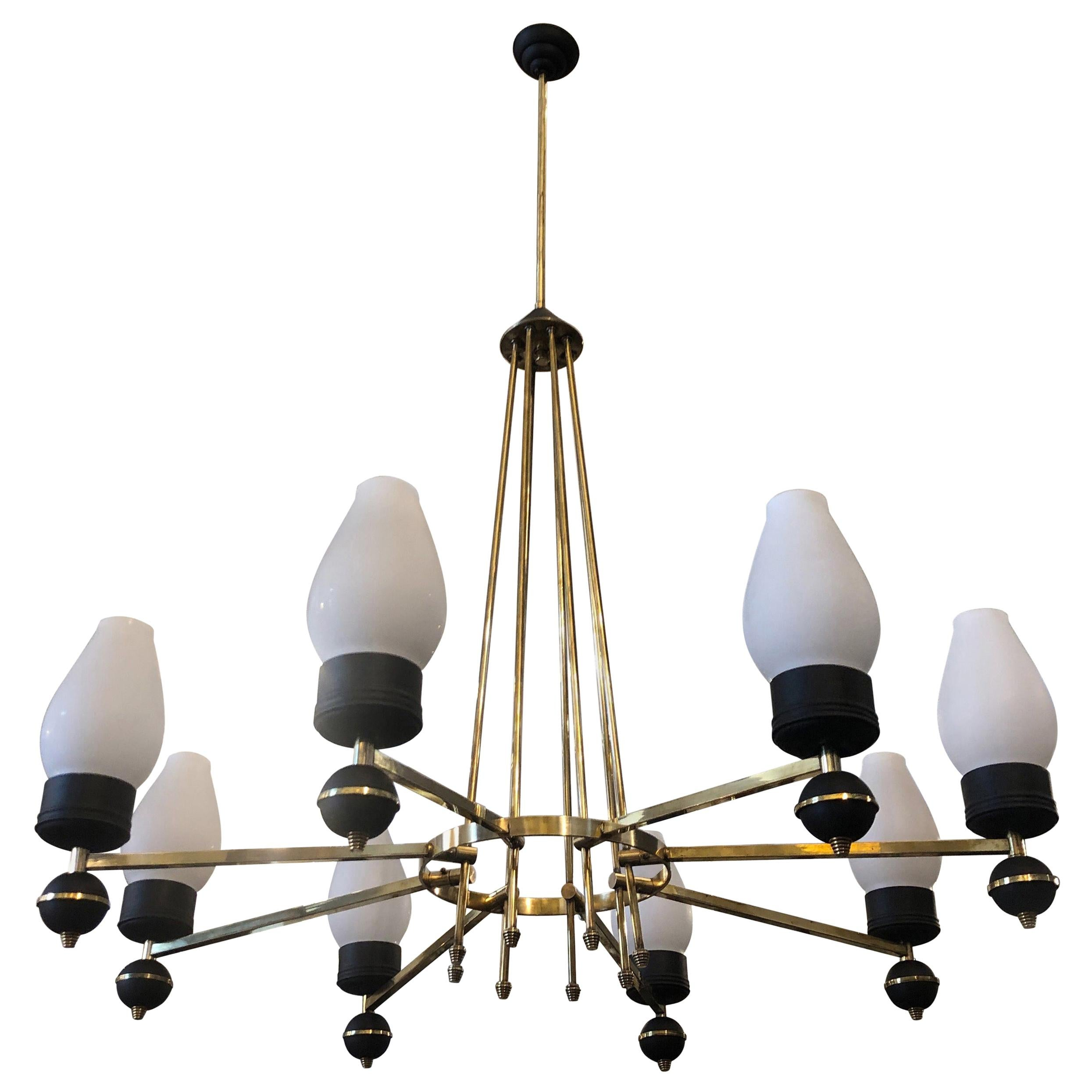 Mid-Century Modern Brass and Black Metal Chandelier in the Manner of Giò Ponti