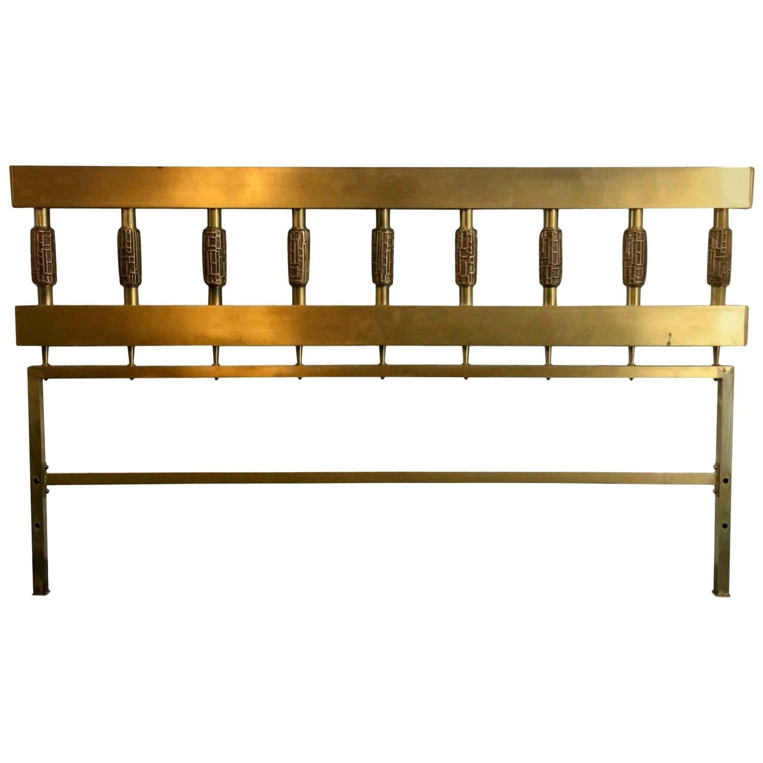 Mid-Century Modern Brass and Bronze Headboard by Luciano Frigerio, Italy, 1970s