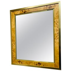 Mid-Century Modern Brass and Burl Wood Mirror