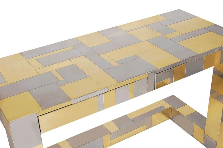 Hollywood Regency Mid-Century Modern Brass and Chrome Cityscape Desk by Paul Evans for Directional For Sale