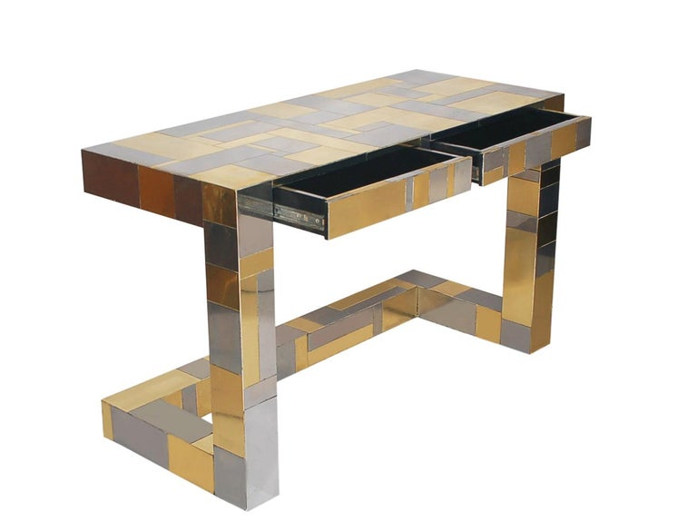American Mid-Century Modern Brass and Chrome Cityscape Desk by Paul Evans for Directional For Sale