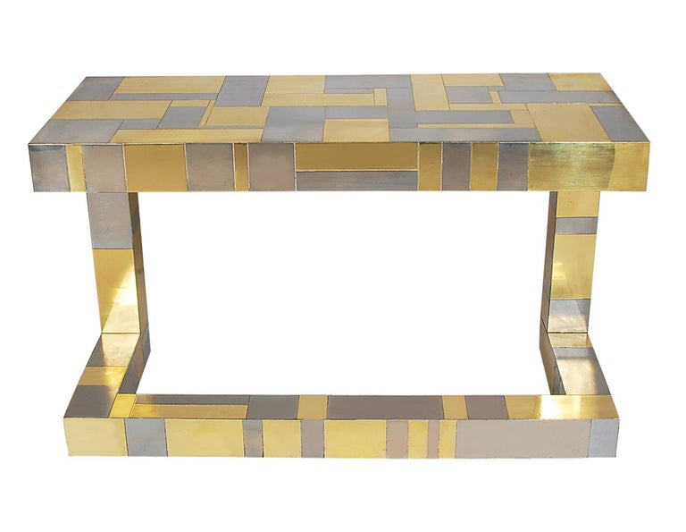 Mid-Century Modern Brass and Chrome Cityscape Desk by Paul Evans for Directional In Good Condition For Sale In Philadelphia, PA
