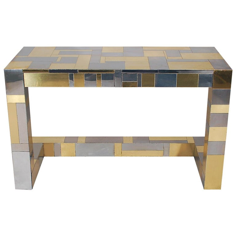 Mid-Century Modern Brass and Chrome Cityscape Desk by Paul Evans for Directional For Sale
