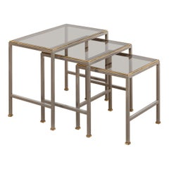 Mid-Century Modern Brass and Chrome Nesting Tables, Side Tables