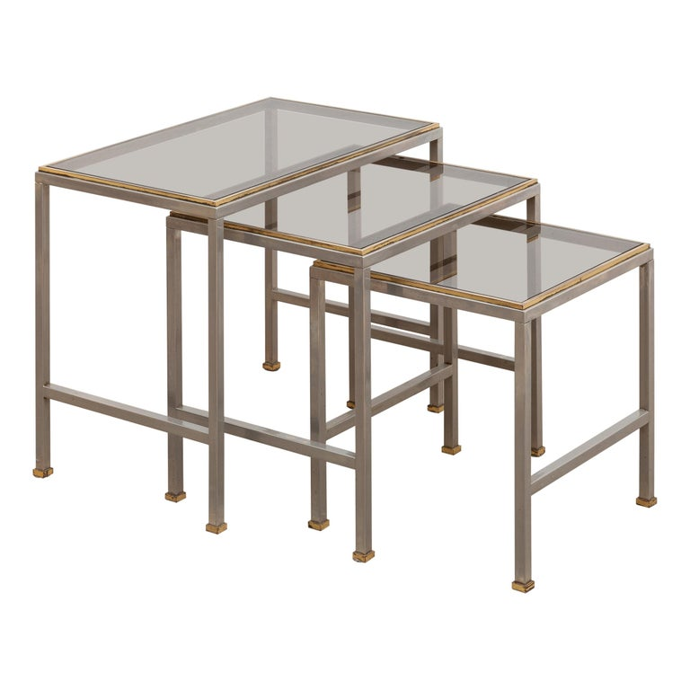Mid-Century Modern Brass and Chrome Nesting Tables, Side Tables For Sale