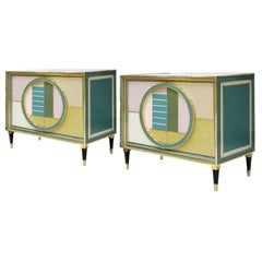 Mid-Century Modern Brass and Colored Glass Pair of Italian Sideboards