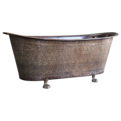 Mid-Century Modern Brass and Copper Alloy Hand Hammered Ornate Bath Tub