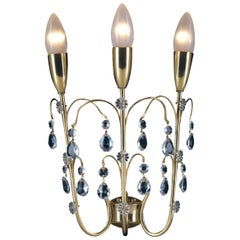 Mid-Century Modern Brass and Crystal Glass Wall Light Sconce, Re Edition