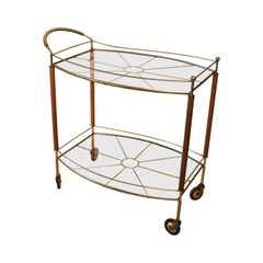 Mid-Century Modern Brass and Glass Bar Cart