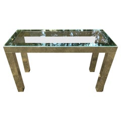 Mid-Century Modern Brass and Glass Console