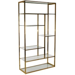 Mid-Century Modern Brass and Glass Étagère Attributed to Milo Baughman
