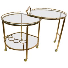 Mid-Century Modern Brass and Glass Extendable Two Table Bar Cart Trolley, Italy