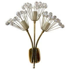 Mid-Century Modern Brass and Glass Floral Wall Sconce Light