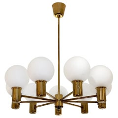Mid-Century Modern Brass and Glass Globes 9-Arm Chandelier