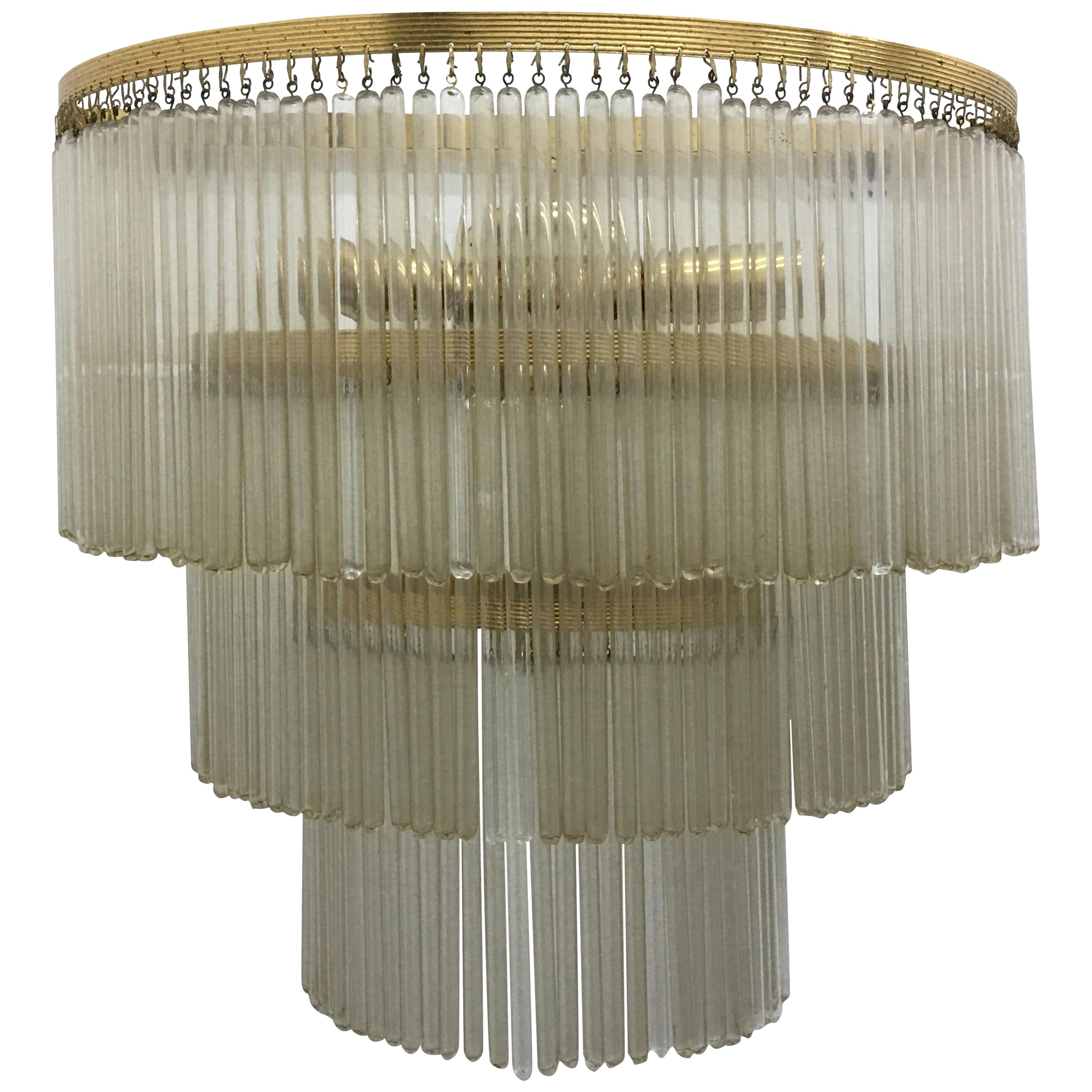 Mid-Century Modern Brass and Glass Huge Wall Sconce, Italy, 1950