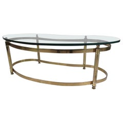 Mid-Century Modern Brass and Glass Kidney Shaped Coffee Table