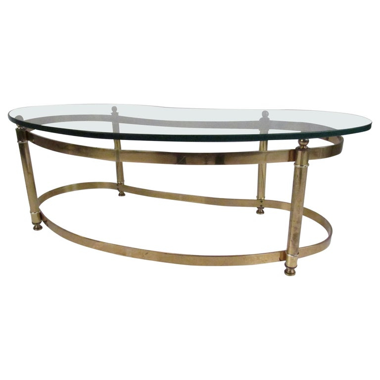 Mid Century Modern Brass And Glass Kidney Shaped Coffee Table For