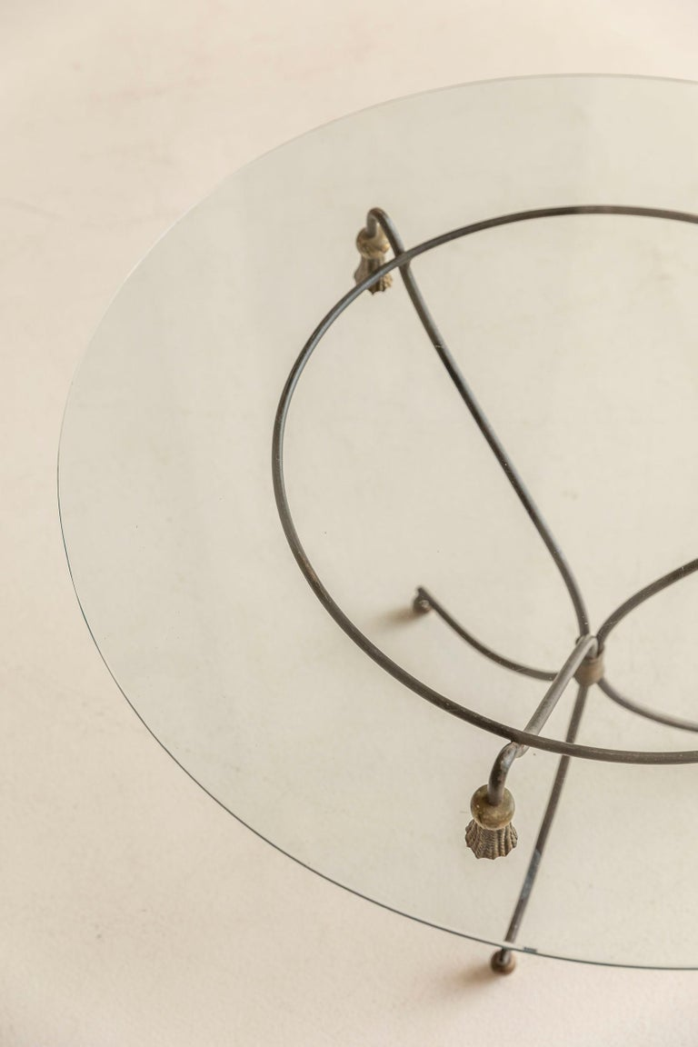 Mid-Century Modern Brass and Glass Side Table, France, 1960s For Sale 6