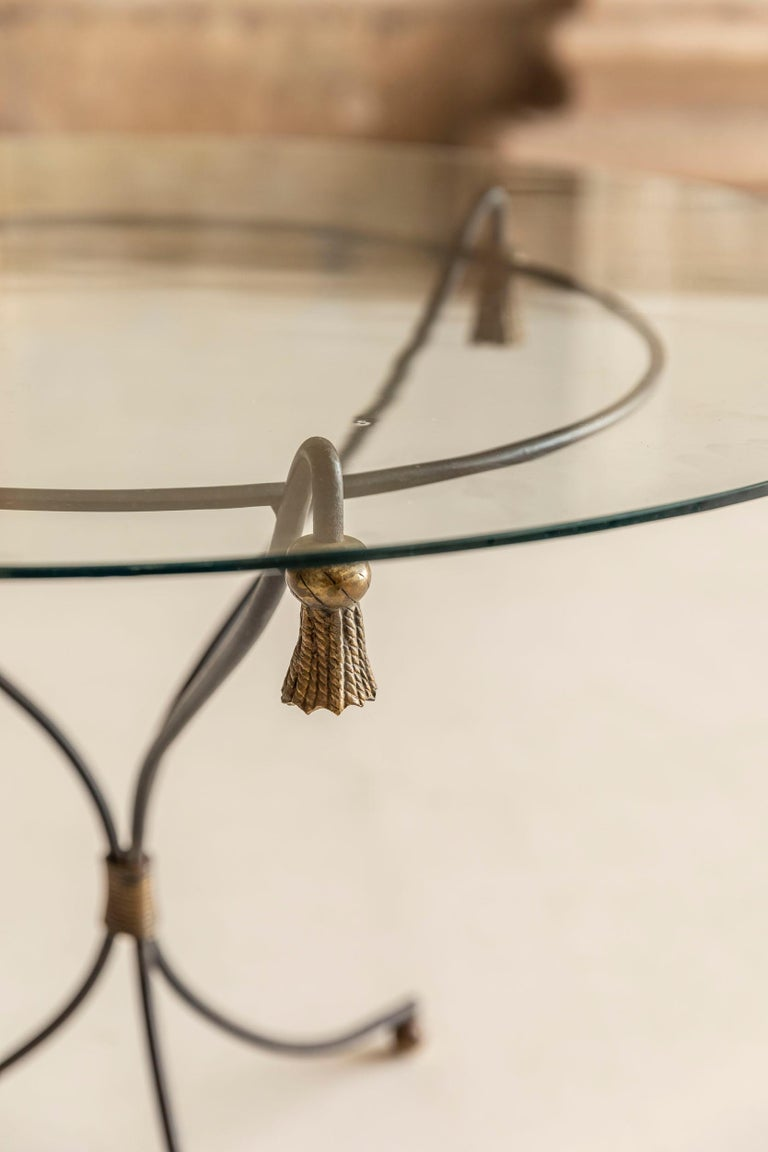 French Mid-Century Modern Brass and Glass Side Table, France, 1960s For Sale