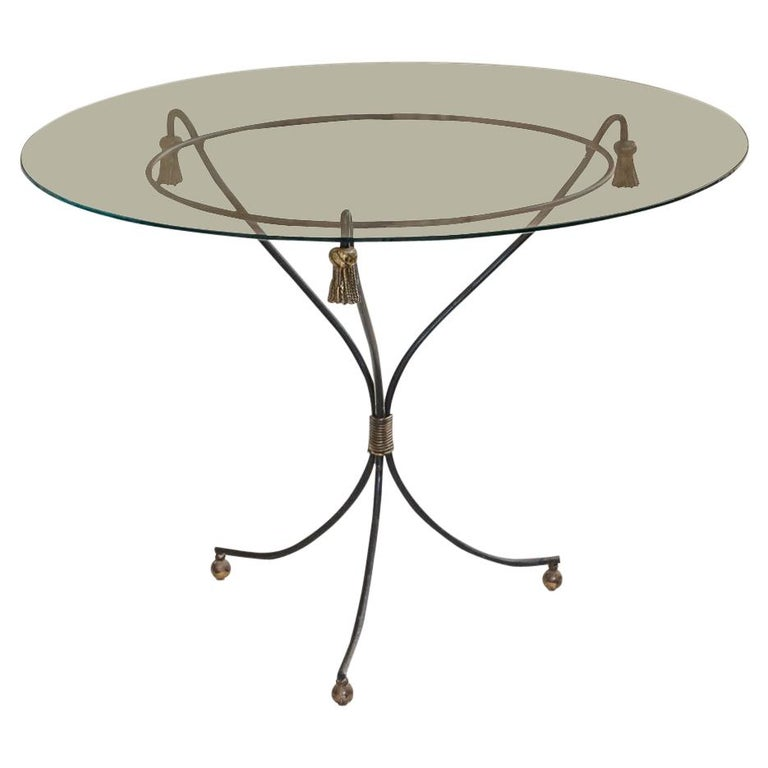 Mid-Century Modern Brass and Glass Side Table, France, 1960s For Sale