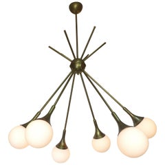 Mid-Century Modern Brass and Glass Sputnik Chandelier
