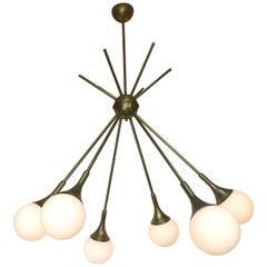 Mid-Century Modern Brass and Glass Sputnik Chandelier