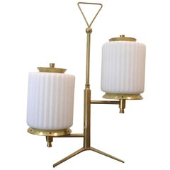 Mid-Century Modern Brass and Glass Table Lamp Attributed to Arteluce