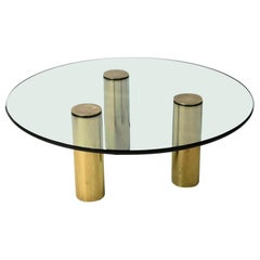 Mid-Century Modern Brass and Glass Tripod Cocktail Table, Pace Collection